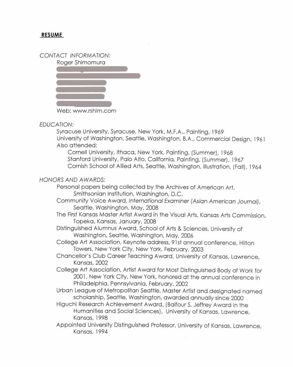 Roger Shimomura's Resume, pg 1